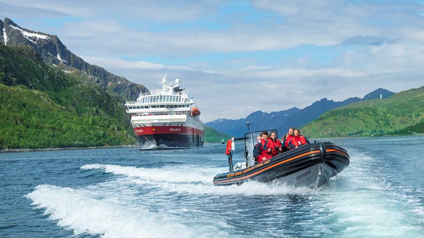 Hurtigruten ship and RIB boat