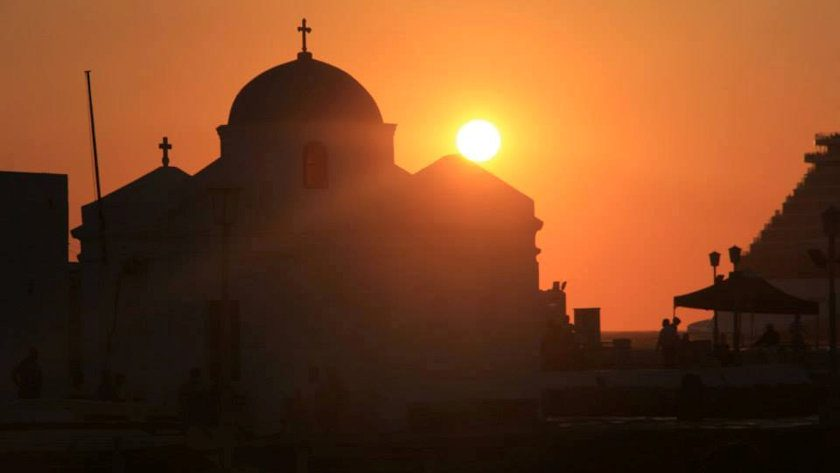 Greek church sunset